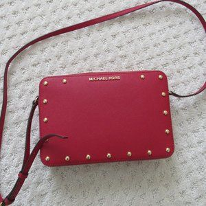 NWT Michael Kors Red lg. crossbody leather bag